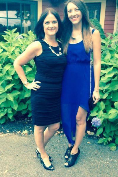 blue dress w mom