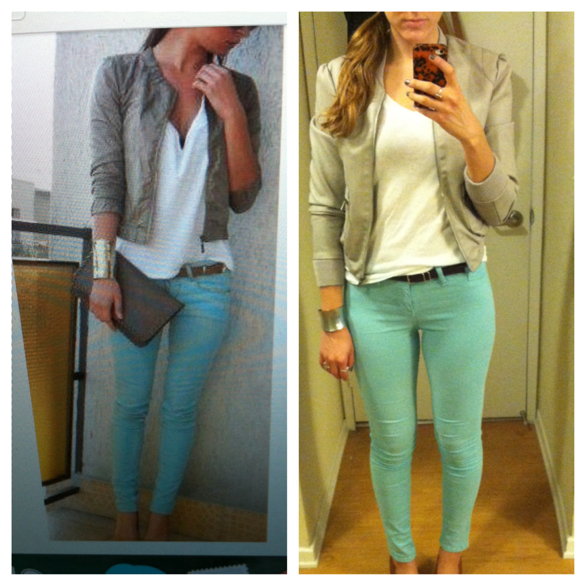 Pinterest Recreation- Light teal skinny jeans white-t gray leather jacket | Vogue in the Valley